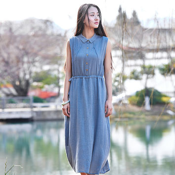 Turn-down collar Solid Sleeveless Linen Summer Midi Long Dresses Vintage Casual Brand Design Women Dress Mori girl Vestidos B095