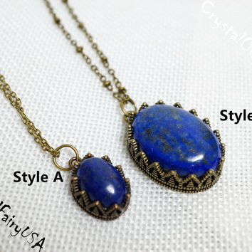 Lapis Necklace in Bronze Crown , Genuine Afghanistan Lapis, Lapis Jewelry , Lapis Pendant  Yoga Lapis Healing Necklace Bridesmaid Necklace