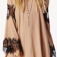 Our Last Kiss Beige Black Long Bell Sleeve Lace Trim Scoop Neck Loose Mini Shift Dress