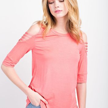 Women's Cold Shoulder Tee with 3/4 Sleeves