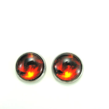 Galaxy Earrings Stainless Steel Earrings Fire Outer Space Stud Earring Fantasy Post Earring Fire Galaxy  Earring Earring