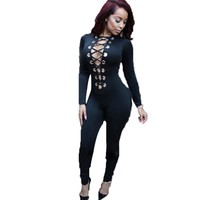 2016 New Fashion Summer Jumpsuits Skinny Long Sleeve Sexy Rompers Women Clothing Deep V-neck Night Club Ptary Wear Bodysuit