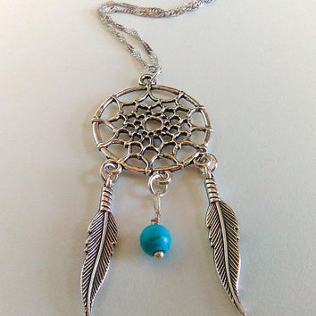Dream catcher Pendant, Boho Native American Necklace, Dreamcatcher Necklace, Feather Necklace, Silver Charm Necklace, Turquoise Blue Charm