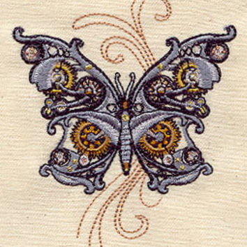 Steampunk butterfly embroidered apron by MorningTempest on Etsy