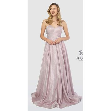 Sweetheart Neck Metallic Strapless Long Prom Gown Pink
