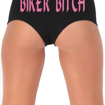 Women's Juniors Pink Biker B*tch Booty Shorts