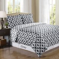 Sierra Gray/White Silky Soft 100-Percent Combed cotton Reversible Duvet Cover