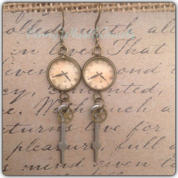 Clock Earrings, Steampunk Earrings, Clock Part Earrings, Dangle Earrings
