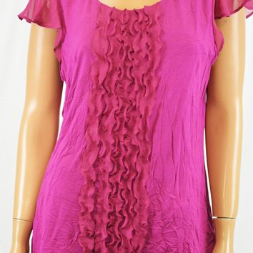 Charter Club Women Flutter-Slv Purple Ruffled Front Blouse Top XL