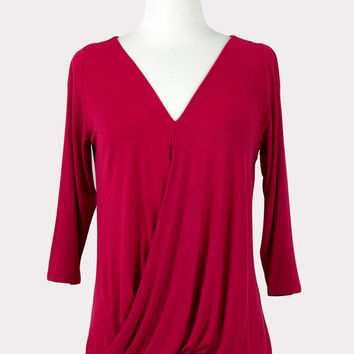 Crossfront Draped Top in Red
