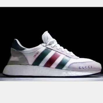 Tagre™ Adidas Retro Iniki GUCCI Runner Boost sports shoes light gray-green red line H-PSXY