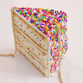 Sprinkles Cake Purse Clutch Bag Accessories Jewelry Fun Pie Cake Food Jewelry Pastries Color Design Rommydebommy Sweet Cute Kawaii