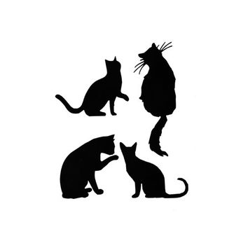 Cat Die Cuts, Black Cat Silhouette, Kitty die cuts, 4 large die cuts, Spooky Halloween, cardstock, scrapbooking embellishment, card making
