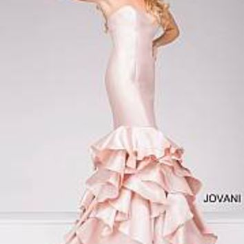 Blush Strapless Mermaid Tiered Prom Dress 41622
