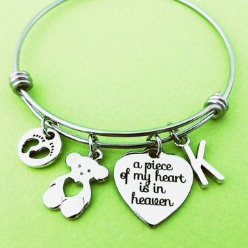 Miscarriage, Bracelet, Remembrance, Lost Child, A piece of my heart is in heaven, Persoanlized, Letter Bangle, Memorial, Bracelet, Jewelry