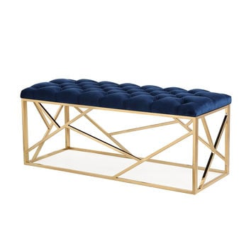 Skylar Navy Velvet Long Bench