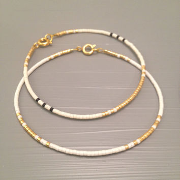 White Bridesmaid Bracelet Bridesmaid Gift Set Gold Layering Bracelet