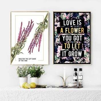 Canvas Painting Lavender Love Quotes Wall Art Nordic Posters And Prints Nordic Style Kids Decoration Wall Pictures Girl Bed Room
