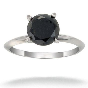 1.96 Carats 14K White Gold Black Diamond Solitaire Ring (2 CT)