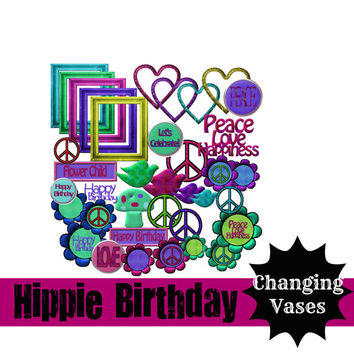 Download 37 Digital Clip Art Scrapbook Kit Hippie Birthday Groovy Retro Sixties Daisy - Buttons - Peace Sign - Stickers - Download Overlay