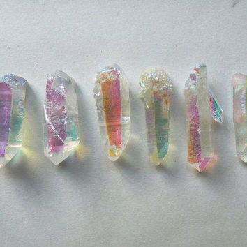 Angel Aura Quartz // Drilled Hole // Necklace Pendant // Rainbow Aura //  Crown Chakra // Angel Divination
