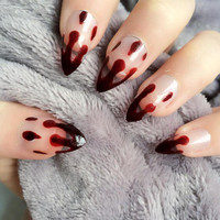 Doobys Stiletto Nails - Dripping Blood - 24 Hand Painted Nails bloody vampire skull purple red gore nails