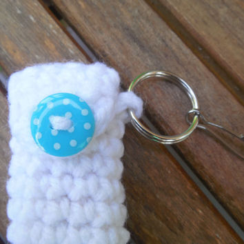 White Lip Balm Cozy w/ turquoise polka dot button, Crochet Lipbalm Holder, Chapstick Case, Summer Keyring, Party Favor, Gifts for Her