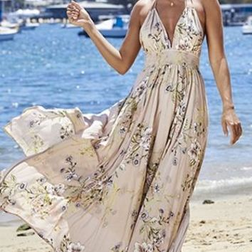 Garden View Beige Floral Sleeveless Spaghetti Strap Backless Halter Smocked V Neck Casual Maxi Dress