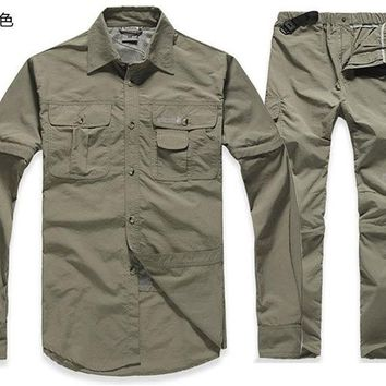 Hiking Shirt camping Quick-dry shirt&pants suit new Spring&Summer &retail men hiking male fishing active UV detachable sleeve KO_17_1