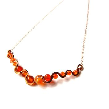 Carnelian, Agate and Copper with 14k Rose Gold Fill chain, Handmade Stream Necklace