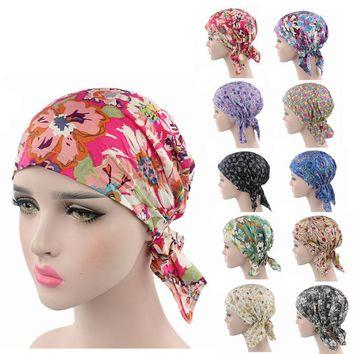 New Cotton head wrap various printing Design Pre Tied Fitted Bandana Head Scarf bandit cap