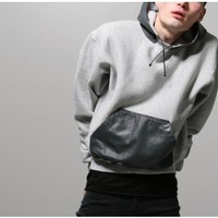 martin keehn leather pocket hoodie grey Oak