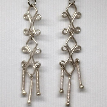 Fashionable Sterling Silver Chandelier Dangle Earrings marked 925