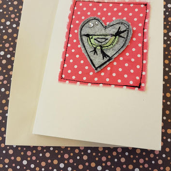 Applique sewn tweet my bird beautiful birdy shabby chic greetings card great for all ages beautiful birthday card