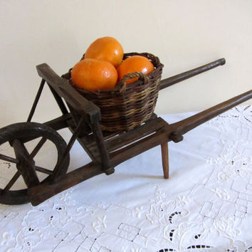 French Vintage Rustic Wheel Barrow Hay Laundry Cart Wood Hand Crafted