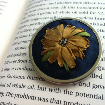 Beaded Embroidered Flower Brooch - Silk Ribbon Embroidery by BeanTown Embroidery
