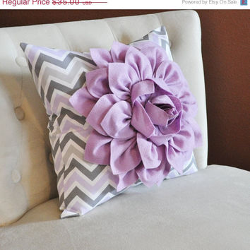 MOTHERS DAY SALE Lilac Flower on Lilac Gray and White Chevron Pillow Accent Pillow Throw Pillow Toss Pillow