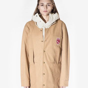 Elongated Cold War Work Jacket in Camel: WMNS