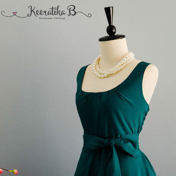 My Lady Pine Green Dress Spring Summer Dress Pine Green Party Dress Dark Green Party Tea Dress Bridesmaid Dress Vintage Design Dress XS-XL