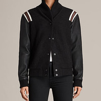 ALLSAINTS US: Womens Bordin Striped Jacket (Black/Bordeaux)