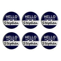 Stephen Hello My Name Is Plastic Resin Button Set of 6