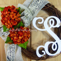 Spring wreath - hydrangea wreath - monogram wreath - summer wreath- mothers day - housewarming - wedding