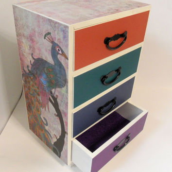 Royal Peacock and Feathers Drawer Set - Wooden Trinket or Large Jewelry Box - Made to Order and Customizable