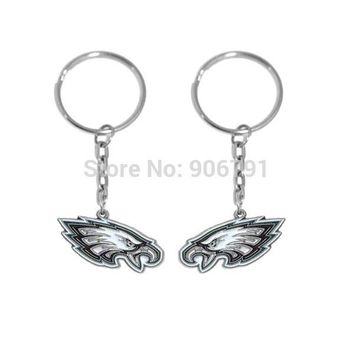 Personalized Gifts New Style Zinc Alloy Enamel Metal Sport Philadelphia Eagles Charm Couple Keychains Ring