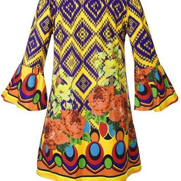 Casual Off Shoulder Floral Geometric Shift Dress With Bell Sleeve