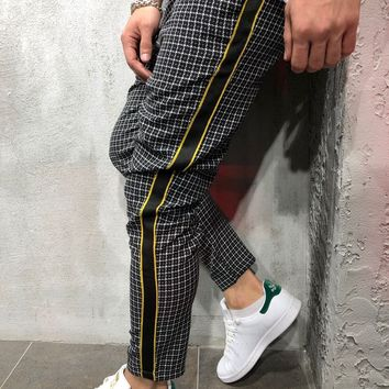 Checkered Ankle Pants with Side Stripes - Black