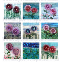 "2.25"" square tiles - Instant Download flowers - digital collage sheet organza flowers by Jackie Chadwick"