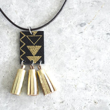 Mini Gold Tassel Necklace, Gift Idea for Women, Geometric Necklace with Small Leather Tassels, Boho Jewelry