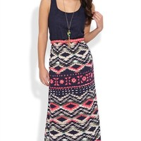 Long Dress with Crochet Lace Bodice and Navajo Print Skirt