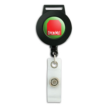 Open Me Tag Design Red Birthdays Christmas Retractable Badge Card ID Holder